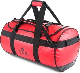 The Friendly Swede Wasserfeste Reisetasche Duffle Bag Rucksack - 30L / 60L / 90L - Seesack, Sporttasche Duffel Dry Bag mit Rucksackfunktion - SANDHAMN Rot, 60L