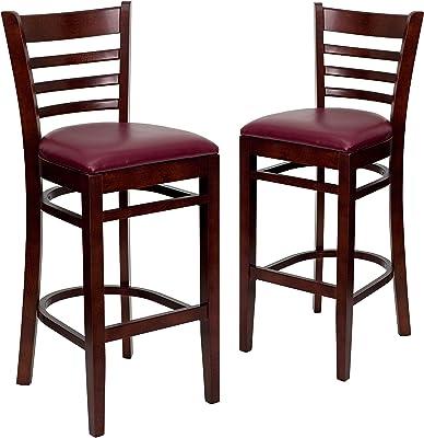 Flash Furniture 2 Pk. HERCULES Series Ladder Back Mahogany Wood Restaurant Barstool - Burgundy Vinyl Seat