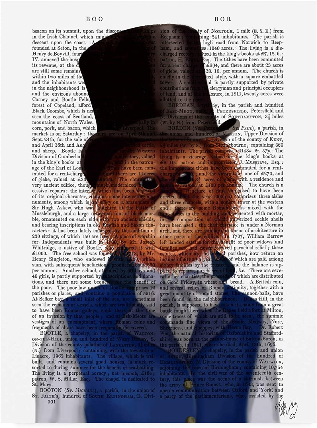 Trademark Fine Art Orangutan in Top Hat by Fab Funky, 14x19