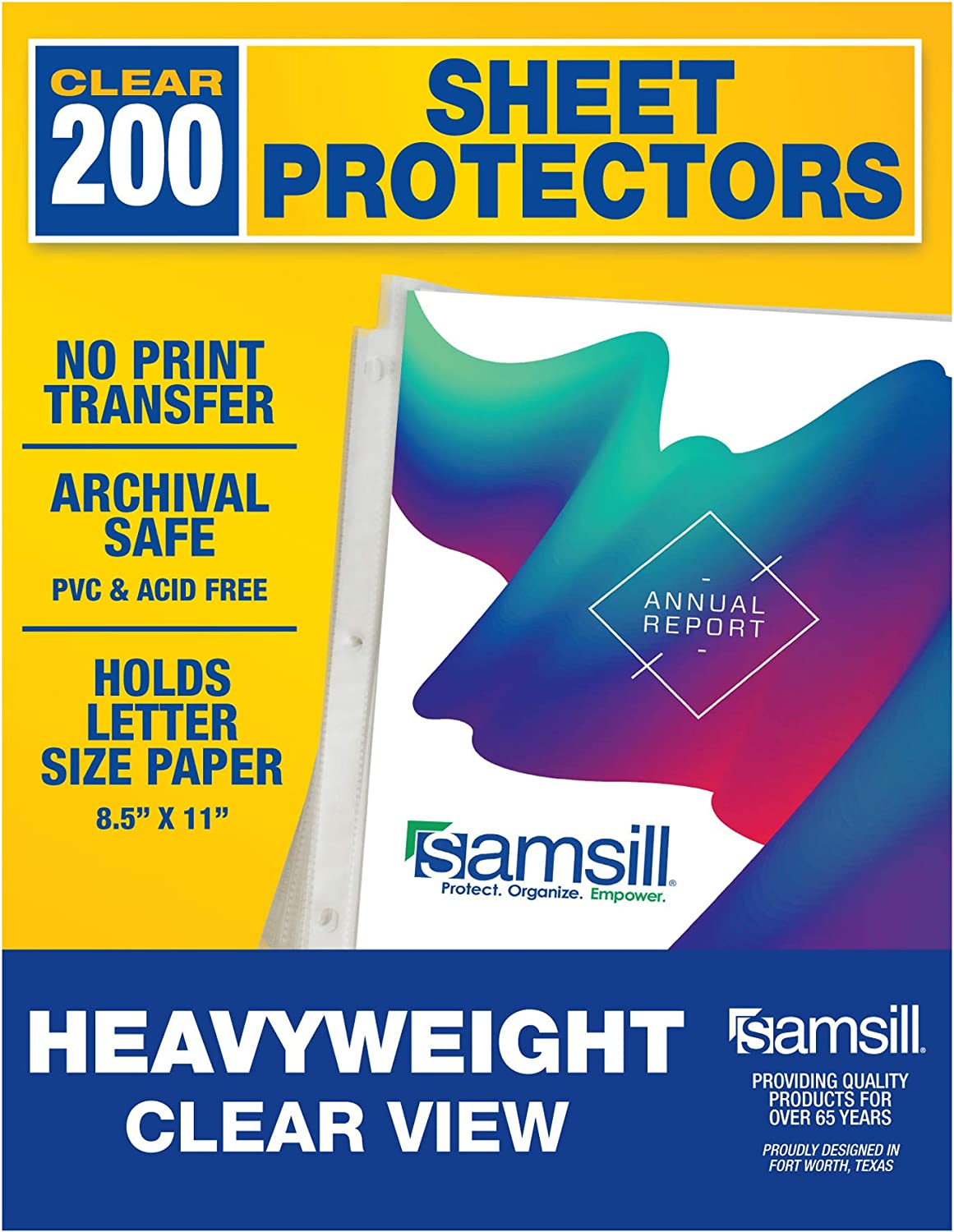 Samsill 200 Pack Heavyweight Clear Sheet Protectors for 3 Ring Binder, Archival Safe, Top Load 8.5 x 11 Inches : Office Products
