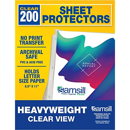 Samsill 200 Pack Heavyweight Clear Sheet Protectors for 3 Ring Binder, Archival Safe, Top Load 8.5 x 11 Inches