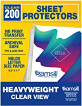Samsill 200 Clear Heavyweight Sheet Protectors, Reinforced 3 Hole Design Plastic Page Protectors, Archival Safe, Top Load ...
