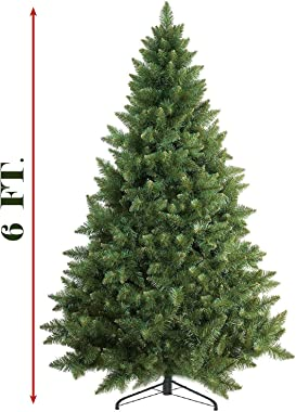 Prextex 6 Feet Premium Artificial Spruce Hinged Christmas Tree Lightweight/Easy to Assemble with Christmas Tree Metal Stand 1