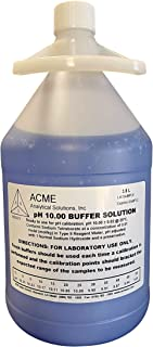 Acme Analytical Solutions pH 10 Buffer Solution, Color Coded Blue, pH Calibration Solution, Gallon Sized Bottle, NIST Trac...