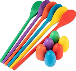 Meklines Egg Spoon Race Game Set, 6 Wooden Spoons and 6 Wooden Eggs. Fun Game