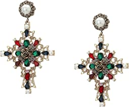 Rhinestone and Simulated Pearl Casted Fancy Cross Drop Post Earrings
