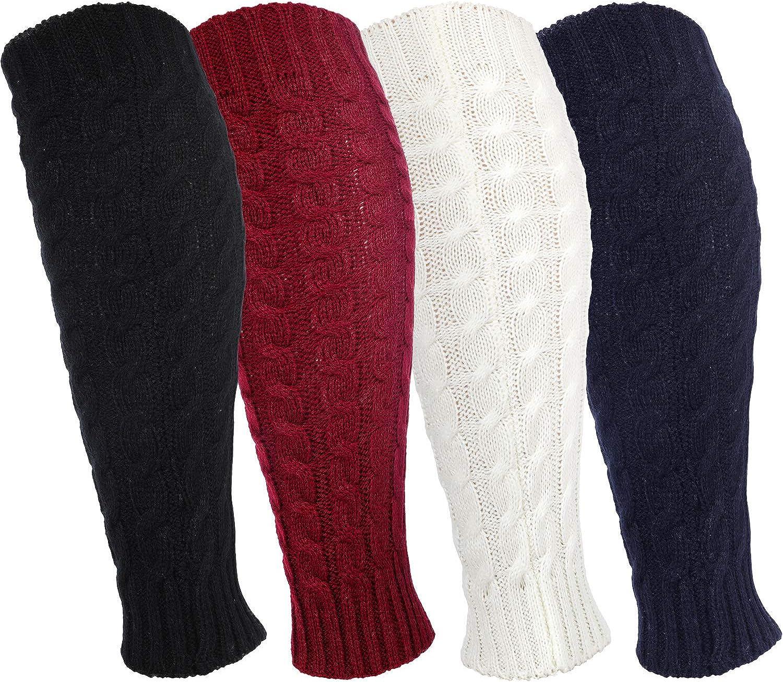 4 Pairs Leg Warmers Knitted Crochet Long Boot Socks for Women Favors
