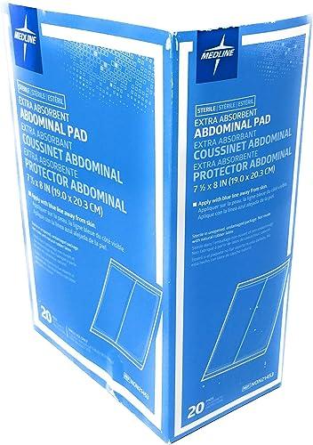 new arrival Medline lowest Medline Abdominal (abd) sterile 8x7.5 Pads - Box outlet sale of 20 Pads, 13.6 Ounce outlet sale