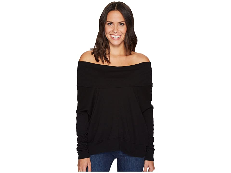 LAmade Rembrandt Off the Shoulder Boxy Top (Black) Women's Long Sleeve Pullover