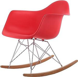 HNNHOME - Silla Mecedora de Salón Rar, Réplica de Modelo Para Descanso - Panton - Rojo