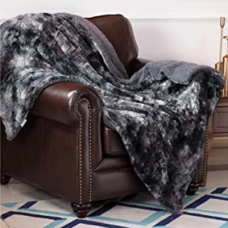 Bedsure Super Soft Fuzzy Faux Fur Reversible Tie-dye Sherpa Throw Blanket for Sofa, Couch and Bed - Plush Fluffy Fleece Blanket as Gifts (50x60 inches, Dark Grey)