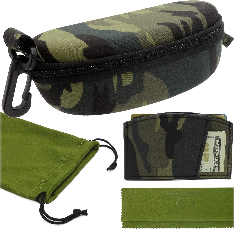 MyEyeglassCase Sports Sunglasses Case and Slim wallet Semi hard large glasses case w/belt clip soft pouch & cloth