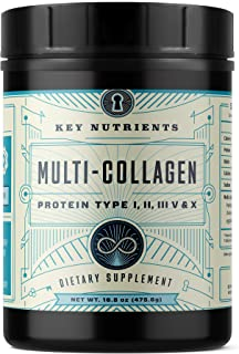 Multi Collagen Protein Powder, Keto Friendly: Types I, II, III, V & X, with Grass-Fed Beef, Chicken, Wild Fish and Eggshell Collagen Peptides, Collagen Hydrolysate, Colágeno Hidrolizado, 58 Servings