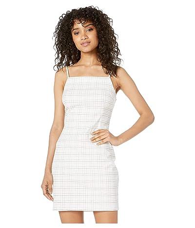 1.STATE Mini Windowpane Bodycon Slip Dress (Soft Ecru) Women