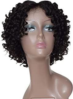 Short Curly Hair Bob Wigs Middle Part Natural Black Human Hair Wig for African American Women (Wig Harper)