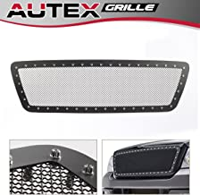 AUTEX Rivet Black Stainless Steel Upper Mesh Grille Insert FL5815H Compatible with Ford F-150 2004 2005 2006 2007 2008 Grill