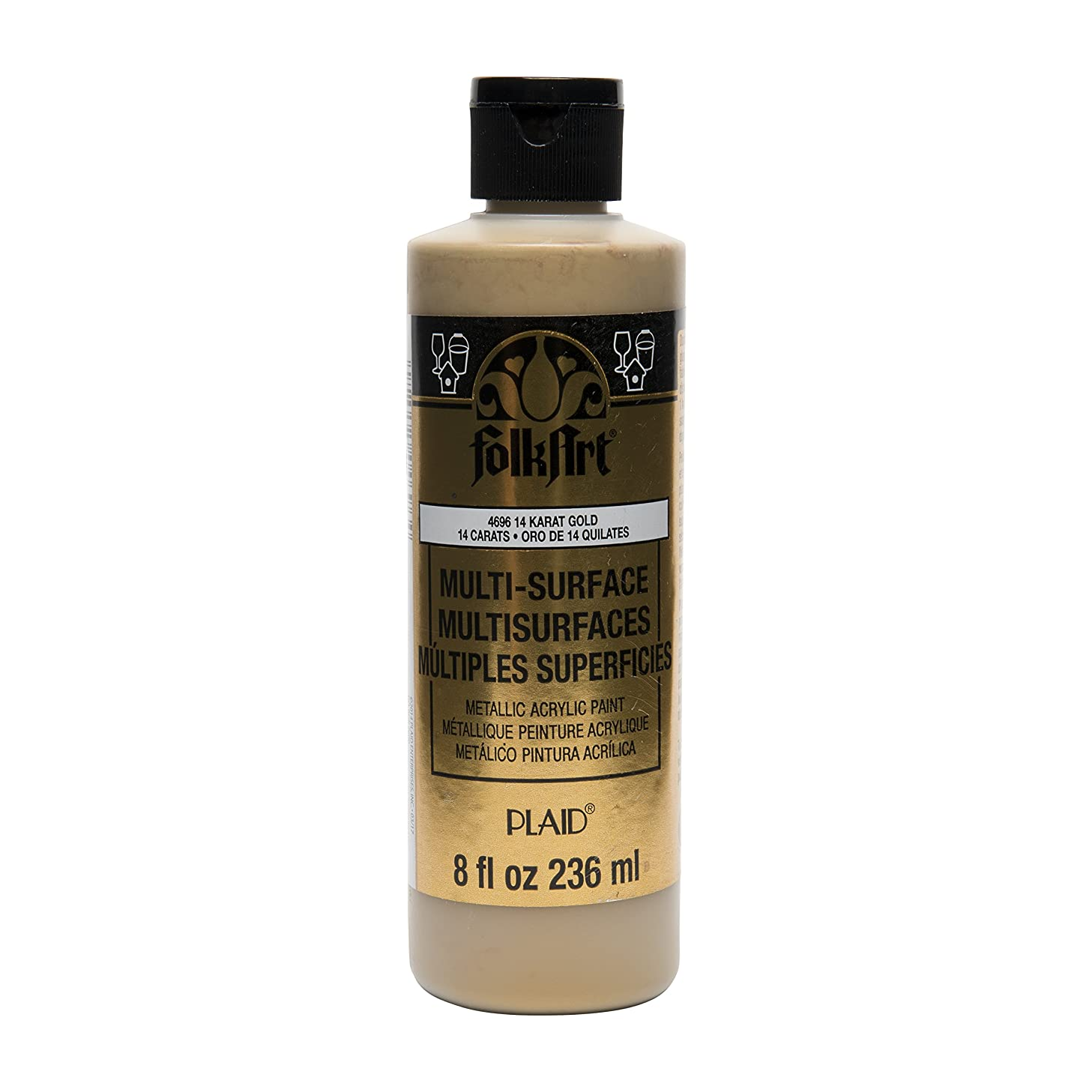 FolkArt Multi Surface Specialty Effect Paint in Assorted Colors (8 oz), 4696 Metallic 14K Gold