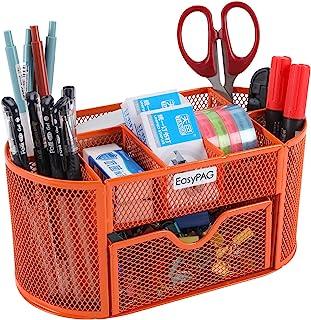 EasyPAG Desk Organizer 9 Components Mesh Office Desktop Office Supplies Set with Drawer,Orange