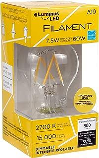 Luminus PLF1222 Filament A19-7.5W (60W) 800 Lumens Warm White 2700K Dimmable LED Light Bulb-6 Pack