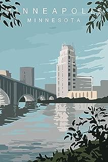 EzPosterPrints - Retro USA Famous City Posters - Decorative, Vintage, Retro, Grunge Travel Poster Printing - Wall Art Print for Home Office - Minneapolis, Minnesota - 24X36 inches