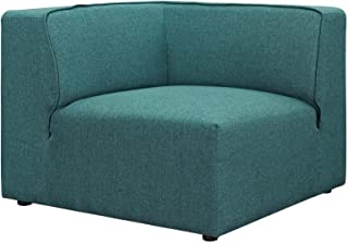 Modway Mingle Polyester Upholstered Generously Padded Corner Seat, Blue Fabric