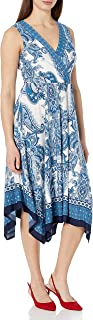 Sandra Darren Women's Sleeveless V-Neck Printed Hanky Hem Belted Jersey Dress