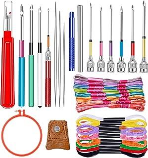 10 Sizes Embroidery Punch Needle, Yarn Punch Needle Embroidery Kit with 20 Pieces Embroidery Floss, Embroidery Hoop and Embroidery Supplies for Embroidery Cross Stitching Knitting Art Handmaking