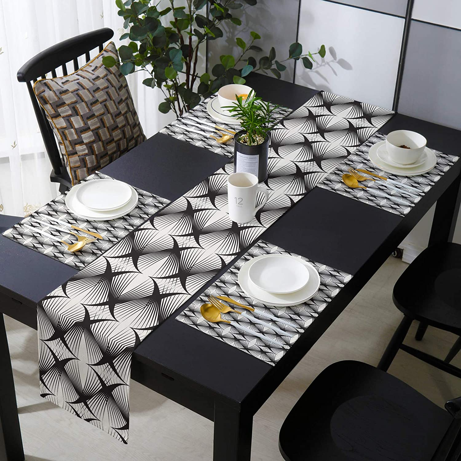 SIGOUYI Modern Table Decor Excellence Runner Geom Set Popular popular Placemats with
