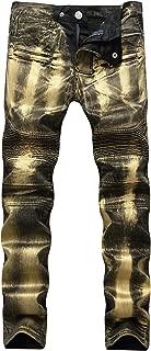 Men's Designer Western Gold/Silver Slim Skinny Moto Jeans Biker Denim Pants