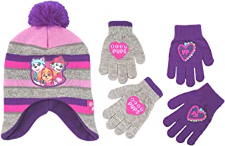 Little Girls Paw Patrol Character Hat and 2 Pair Mittens or Gloves Cold Weather Set, Age 2-7 (Little Girls Age 4-7 Hat & 2 Pair Gloves Set, Grey/Purple)