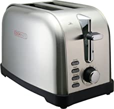 Cookmate Classic Stainless Steel 2-Slice Toaster - 7 Temperature Level - Extra Wide Slots - Digital Control Buttons - by Unity