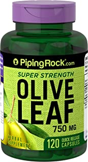 Piping Rock Super Strength Olive Leaf Extract 750 mg 120 Quick Release Capsules Herbal Supplement