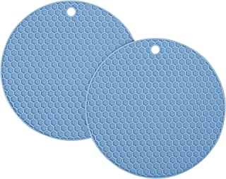 HG HGROPE Resistant Hot Pads Silicone Pot Holder Trivet Mats,Spoon Rest, Jar Opener Garlic Peeler, Blue