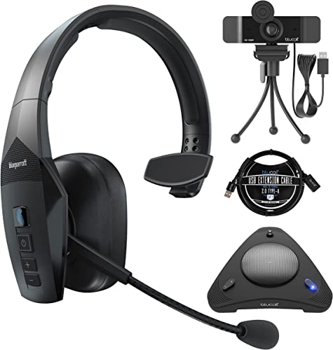 2021 BlueParrott B550-XT Voice Controlled outlet online sale Bluetooth Headset with Noise Cancelling Microphone for iOS & Android Bundle wholesale with Blucoil 1080p USB Webcam, USB Conference Speakerphone, and 3' USB Extension Cable online sale