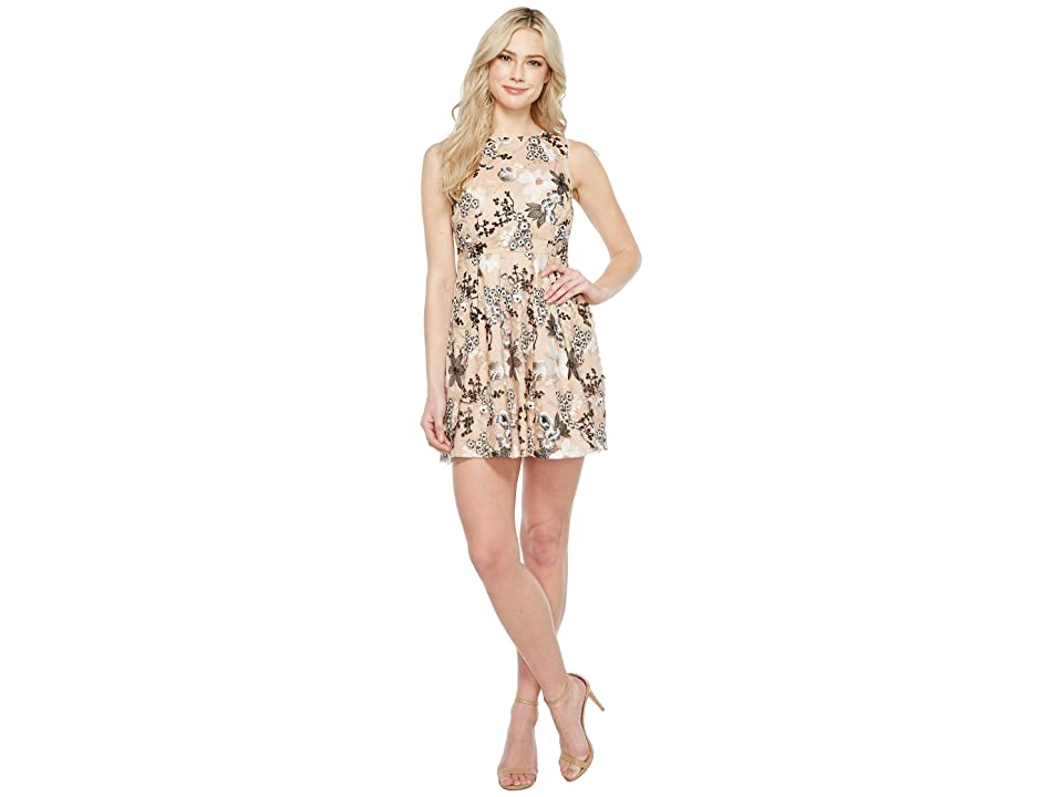 Image of Aidan Mattox Embroidered Sequin Cocktail (Black/Nude) Women's Dress