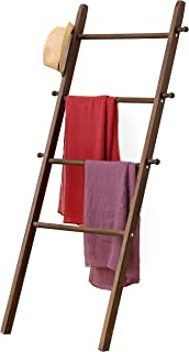 MyGift 5-Foot Wall-Leaning Dark Brown Wood Garment Ladder-Style Wall Rack