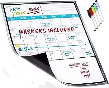 Large Dry Erase Monthly Magnetic Calendar Set for Refrigerator