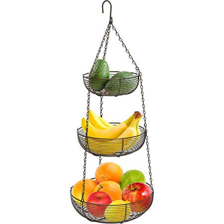 Heavy Duty Wire Organizer Rustic Country Style Kitchen Storage Baskets Hanging Fruit Basket 3 Tiers with Adjustable Wall Mount Ceiling Hanging Hooks Black Vegetable Basket Space Saving
