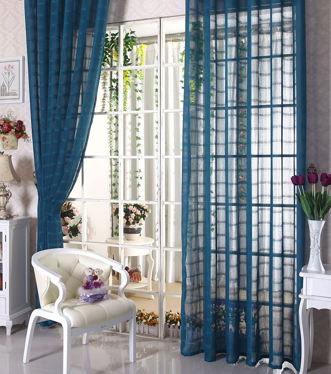 Easy-to-use HooHero Solid Opening large release sale Sheer Curtains Rod Linen Pocket Pat Plaid Textured