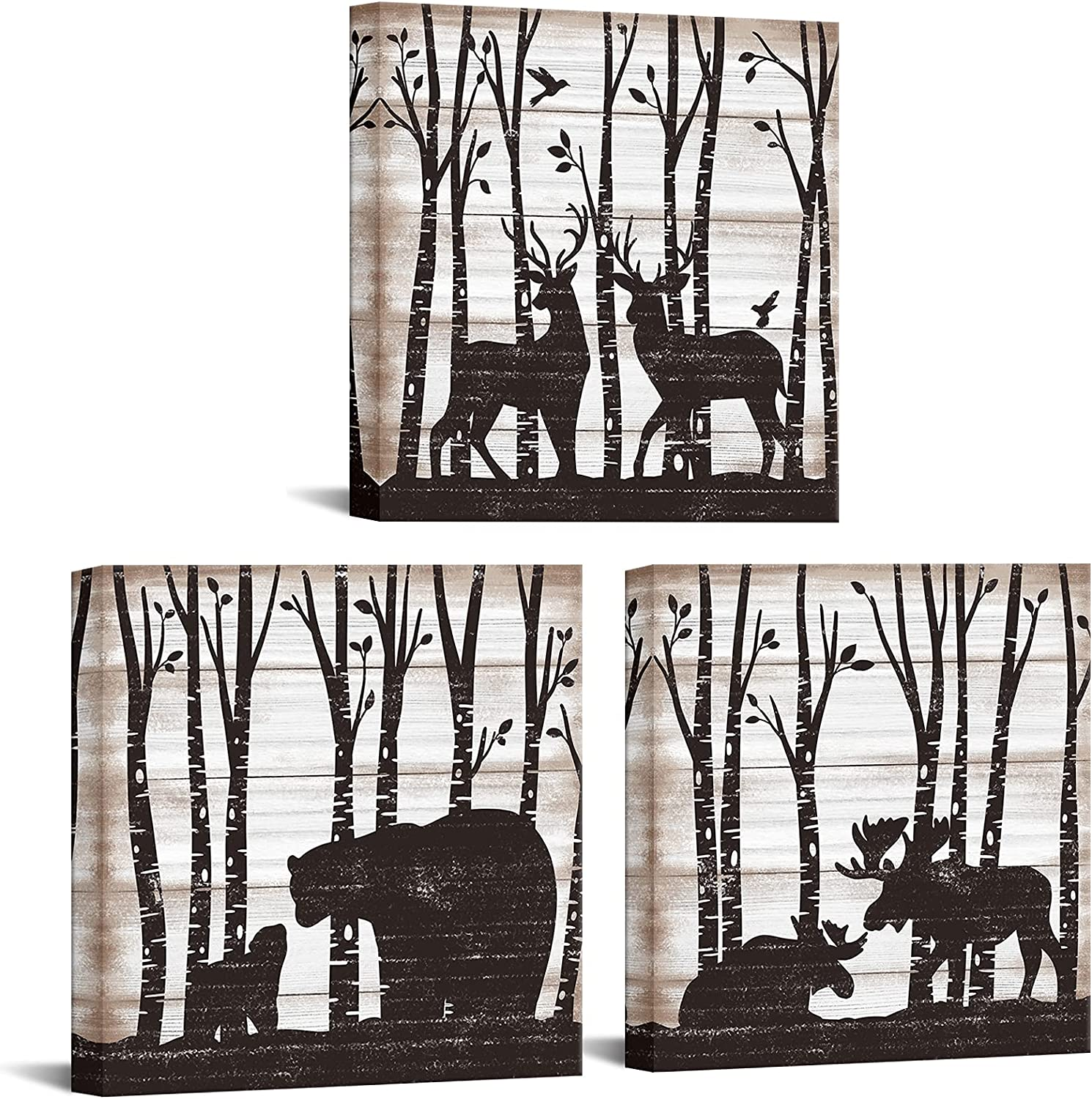 OuElegent 3 Piece Wild Animal Canvas Wall Art Black Bear Deer Moose Family in Forest Rustic Wood Painting Picture Abstract Artwork Prints for Home Farmhouse Bathroom Decor Framed Ready to Hang