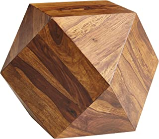 FineBuy Couchtisch 57 x 42,5 x 57 cm Sheesham Massivholz Sofatisch Modern | Wohnzimmertisch in Diamantform | Holztisch Massiv Wohnzimmer |Echtholz Tisch