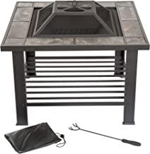 Fire Pit Set, Wood Burning Pit – Includes Screen, Cover and Log Poker – Great..