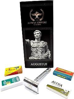 Roman Empire Shaving® Golarka Augustus – elegancka golarka Safety Razor dla kobiet i mężczyzn – zestaw do golenia na mokro...