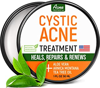 Best Cystic Acne Treatment and Acne Scar Remover - Made in USA - Effective Face & Body Severe Acne Cleanser with Tea Tree Oil - Prevent Future Breakouts - Natural Acne Balm, Pimple Cream - 1 fl.oz Review