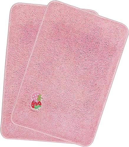HOKIPO Soft Microfiber Set of 2 Bath Mats for Home 40X60cm Pink AR 2670 PNK