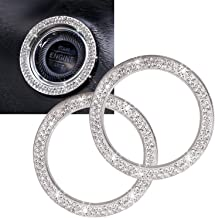 Car Bling Ring Auto Car Rhinestone Crystal Ring Sticker 2Pcs Auto Engine Start Stop Decoration,Bling Car Accessories for W...