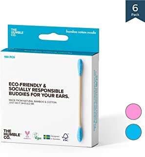 Natural Bamboo Cotton Swabs/Sticks (6pk) - Natural, Organic, Wood, Eco friendly and Sustainable Buds for Ears, Makeup, Pet Care and Cleaning (blue)