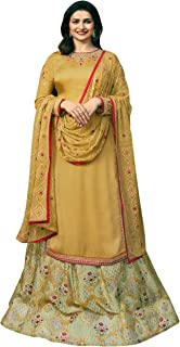 Exotic India Harvest-Gold Prachi Kameez with Floral Printed Skirt and - Mustard