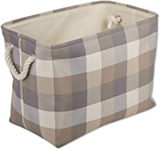 DII Buffalo Check Storage Collection Collapsible Bin with Handles, Medium, 16x10x12, Stone