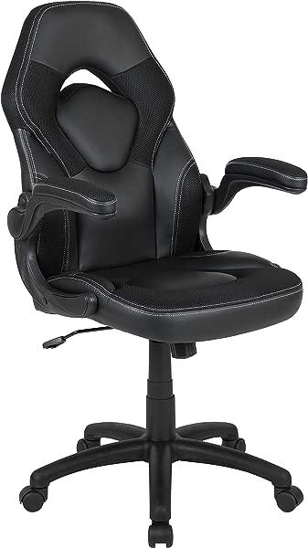 闪光家具 X10 游戏椅赛车办公室人体工学电脑电脑可调转椅带翻转手臂黑色皮革软件